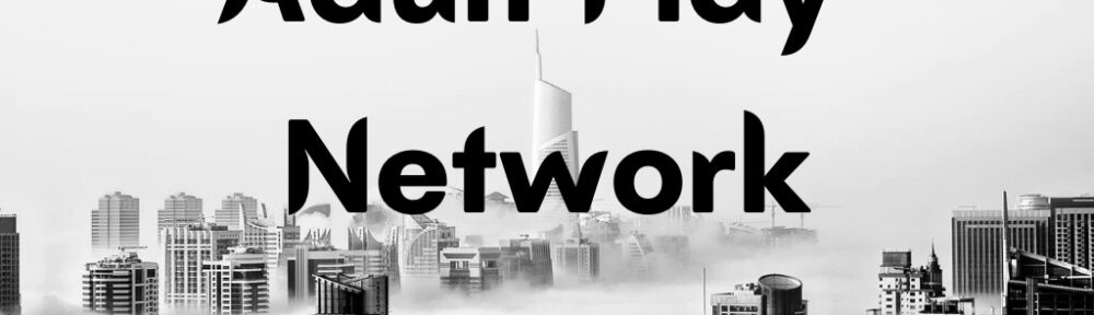 Text reads 'Adult Play Network' against a backdrop of building silhouettes
