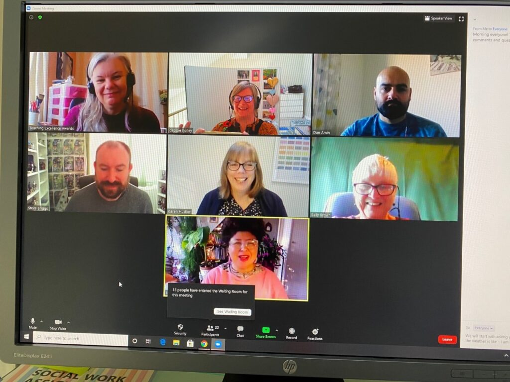 Image shows a Zoom meeting, featuring five female and two male presenters from the webinar event
