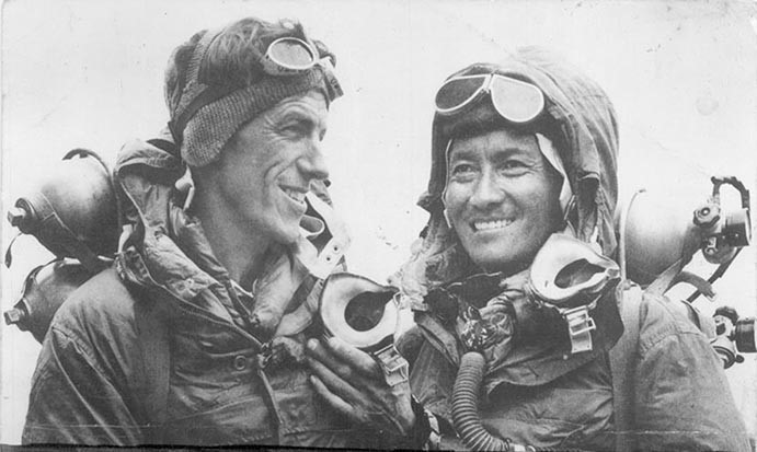 Image shows  Sir Edmund Hillary (left) and Tenzing Norgay (Credit: Tenzing Norgay, via Wikimedia Commons)